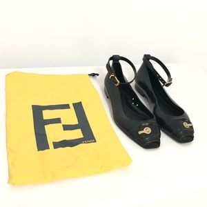 Fendi Black Rubber Peep-Toe Flats with ankle strap